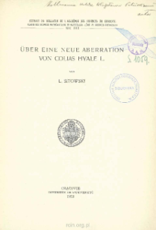 O nowej aberacyi Colias hyale L. = Über eine neue Aberration von Colias hyale L.