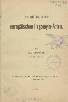 Die mir bekannten europäischen Pegomyia-Arten