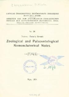Zoological and Palaeontological Nomenclatorical Notes