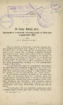 Do fauny Babiej góry: Sprawozdanie z wycieczek entomologicznych na Babią górę w latach 1879 i 1880