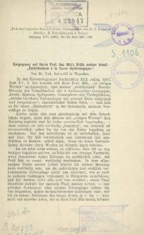 """Entgegnung auf Herrn Prof. Jos. Mik's Kritik meiner Arbeit """"Contributions à la faune diptérologique"""""""