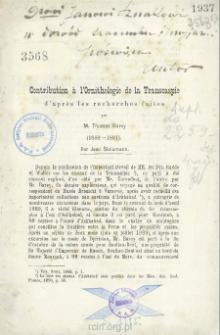 Contribution à l'Ornithologie de la Transcaspie d'après les recherches faites par M. Thomas Barey (1888-1891)