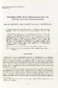 Swimming ability of the Mediterranean pine vole Microtus (Terricola) duodecimcostatus
