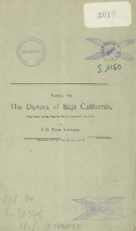 On the Diptera of Baja California, including some species from adjacent regions