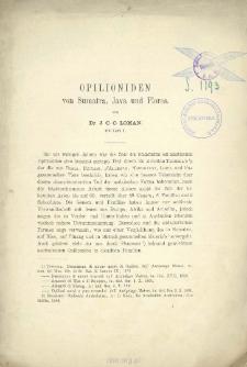 Opilioniden von Sumatra, Java und Flores