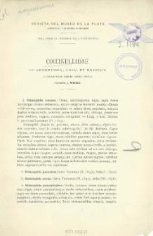 Coccinellidae in Argentinia, Chili et Brasilia: E collectione domini Caroli Bruchi