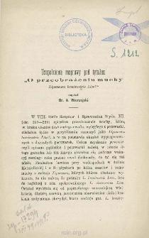 """Uzupełnienie rozprawy pod tytułem """"O przeobrażeniu muchy Liponeura brevirostris Löw?"""""""