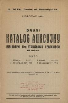 Drugi katalog aukcyjny bibljoteki Dra Stanisława Lewickiego we Lwowie