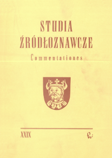 Studia Źródłoznawcze = Commentationes T. 29 (1985), Title pages, Contents