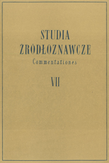 Studia Źródłoznawcze = Commentationes T. 7 (1962), Title pages, Contents