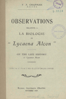 On the life history of Lycaena Alcon, F.