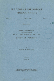 The goldfish (Carassius Carassius) as a test animal in the study of toxicity