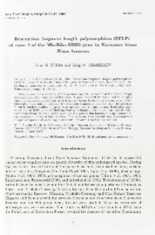 Bisoniana 116. Restriction fragment length polymorphism (RFLP) of exon 2 of the MhcBibo-DRB3 gene in European bison Bison bonasus