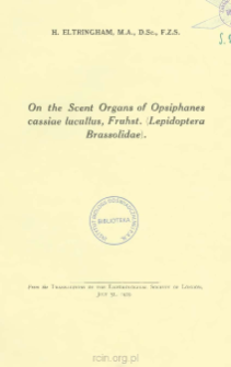On the Scent Organs of Opsiphanes cassiae lucullus, Fruhst. (Lepidoptera Brassolidae)