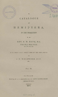 A catalogue of Hemiptera in the collection with short latin descriptions of the new species. Part 2