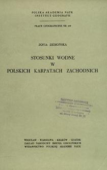 Stosunki wodne w polskich Karpatach Zachodnich = Hydrographic conditions in the Polish West Carpathians = Vodnye otnošeniâ v pol'skih Zapadnyh Karpatah