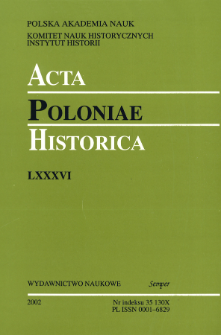 Acta Poloniae Historica T. 86 (2002), Title pages, Contents