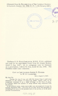 Copy of Letter from Joseph D. Hooker to W. B. Carpenter