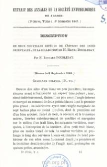 Description de deux nouvelles especes de Charaxes des indes orientales, de la collection de M. Henri Doubleday