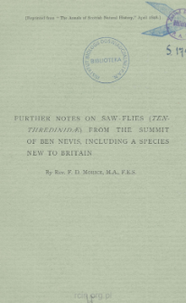 Further notes on saw-flies (Tenthre- Dinidee) from the summit of Ben Nevis, including a species new to Britain