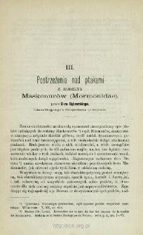 Postrzeżenia nad ptakami z rodziny Maskonurów (Mormonidae)
