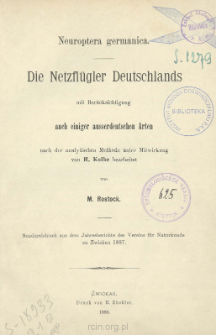 Die Netzflügler Deutschlands mit Berücksichtigung auch einiger ausserdeutschen Arten nach der analytischen Methode unter Mitwirkung