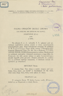 Fauna owadów okolic Lwowa = Les Insectes des Environs de Leopol, Haliplidae (Col.)