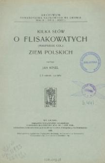 Kilka uwag o Flisakowatych (Haliplidae Col.) ziem polskich