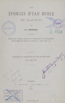 Les eponges d'eau douce de Galicie
