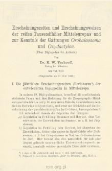 Erscheinungszeiten und Erscheinungsweisen der reifen Tausendfüßler Mitteleuropas und zur Kenntnis der Gattungen Orobainosoma und Oxydactylon