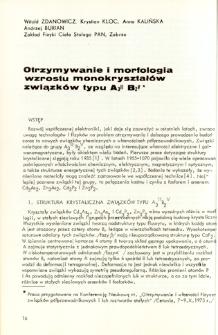 Otrzymywanie i morfologia wzrostu monokryształów związków typu A3IIB2V = Preparationed morphology of single crystals of A3IIB2V compounds
