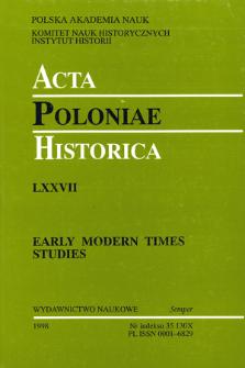 Acta Poloniae Historica. T. 77 (1998), Strony tytułowe, Spis treści