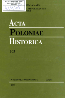 Acta Poloniae Historica T. 103 (2011), Title pages, Contents