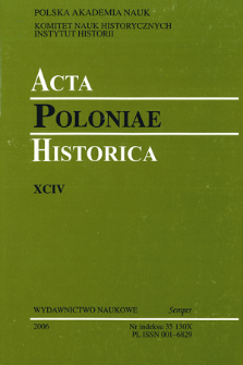Acta Poloniae Historica. T. 94 (2006), Title pages, Contents