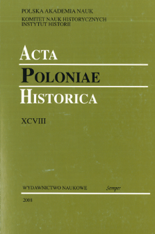 Acta Poloniae Historica. T. 98 (2008), Title pages, Contents