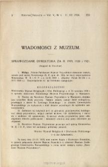 Sprawozdanie dyrektora za r. 1919, 1920, 1921