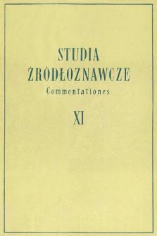 Studia Źródłoznawcze = Commentationes. T. 11 (1966), Title pages, Contents