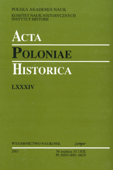 Acta Poloniae Historica. T. 84 (2001), Title pages, Contents
