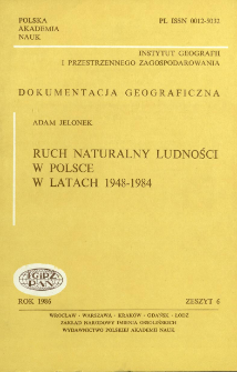 Ruch naturalny ludności w Polsce w latach 1948-1984 = Natural movement of population in Poland over 1948-1984 period