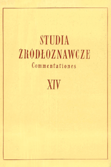 Studia Źródłoznawcze = Commentationes T. 14 (1969), Contents for the years 1957-1970