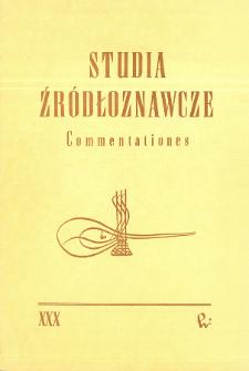 Studia Źródłoznawcze = Commentationes T. 30 (1987), Title pages, Contents