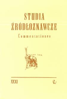 Studia Źródłoznawcze = Commentationes T. 31 (1990), Title pages, Contents