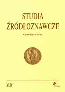 Studia Źródłoznawcze = Commentationes T. 44 (2006), Title pages, Contents