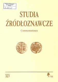 Studia Źródłoznawcze = Commentationes T. 45 (2007), Title pages, Contents