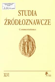 Studia Źródłoznawcze = Commentationes T. 46 (2009), Title pages, Contents