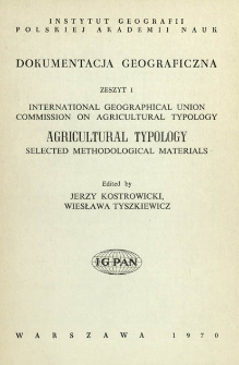 Agricultural typology : selected methodological materials