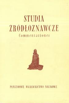 Studia Źródłoznawcze = Commentationes. T. 24 (1979), Title pages, Contents