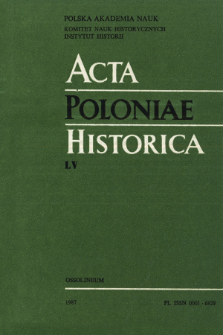Acta Poloniae Historica. T. 55 (1987), Title pages, Contents