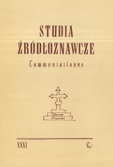 Studia Źródłoznawcze = Commentationes T. 26 (1981), Title pages, Contents
