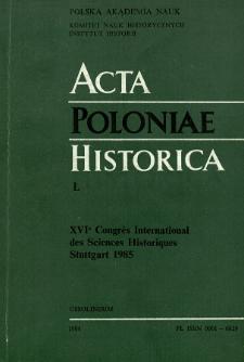 Acta Poloniae Historica. T. 50 (1984), Vie scientifique